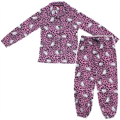 Hello Kitty Pink Leopard Fleece Pajamas for Women