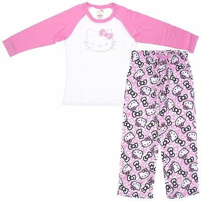 Hello Kitty Pink and White Pajamas for Women