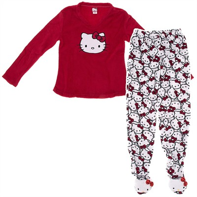 Hello Kitty Red Two-Piece Footed Pajamas