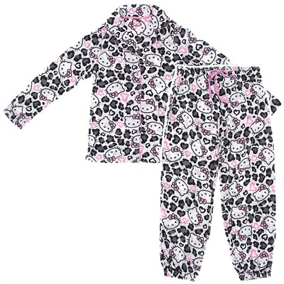 Hello Kitty White Leopard Fleece Pajamas for Women