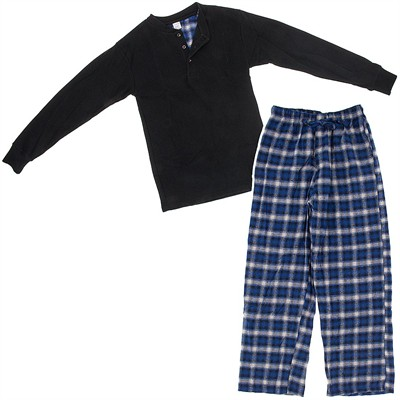 Black and Blue Henley Flannel Pajama Set for Men