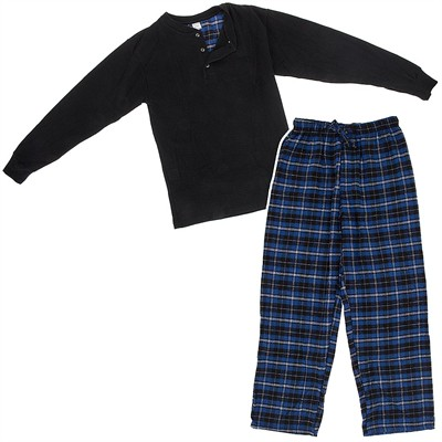 Navy and Black Henley Flannel Pajama Set for Men