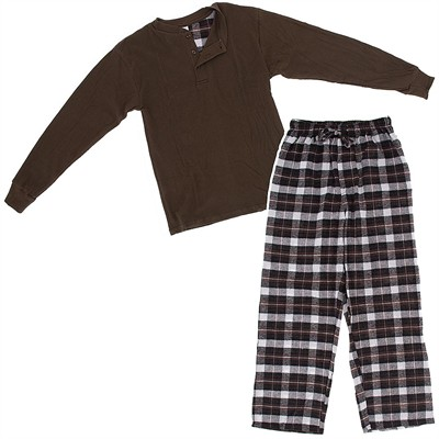 Brown Henley Flannel Pajama Set for Men