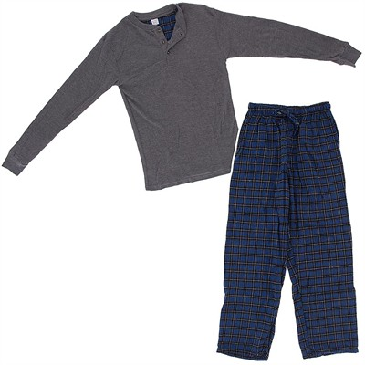 Gray and Blue Henley Flannel Pajama Set for Men