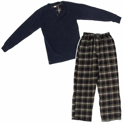 Navy and Brown Henley Flannel Pajama Set for Men