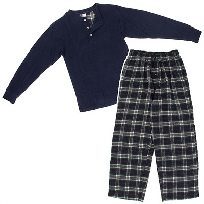 Navy Henley Flannel Pajama Set for Men