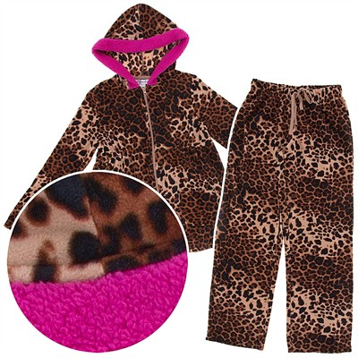 Leopard Hooded Plush Pajamas for Women