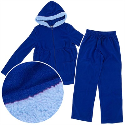 Royal Blue Hooded Plush Pajamas for Women