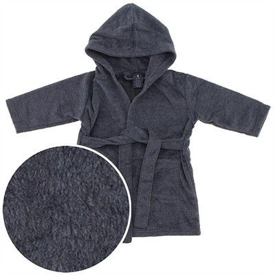 Hooded Gray Fleece Robe for Infant and Toddler Boys