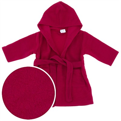 Hooded Red Fleece Robe for Toddler Girls