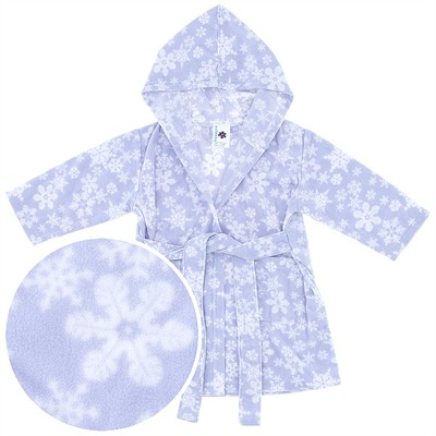 Blue Snowflake Hooded Fleece Bath Robe for Baby Girls
