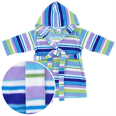 Blue Striped Hooded Fleece Bath Robe for Baby and Toddler Girls