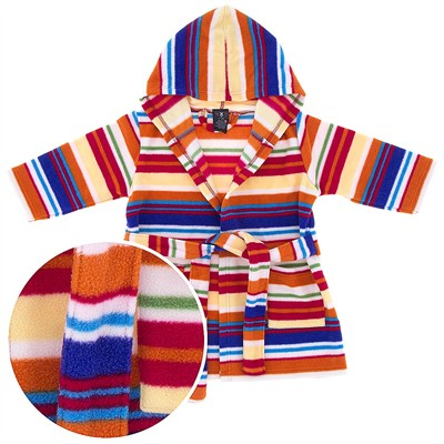 Orange Striped Hooded Fleece Bath Robe for Babies and Toddlers