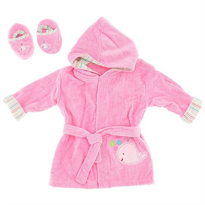 Pink Terry Infant Bath Robe with Slippers for Baby Girls