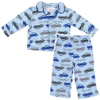 Calvin Klein Blue Car Coat-Style Infant Pajamas for Boys