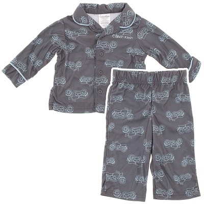 Calvin Klein Gray Motorcycle Coat-Style Infant Pajamas for Boys