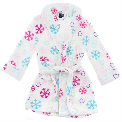 Ivory Snowflake Plush Bath Robe for Girls