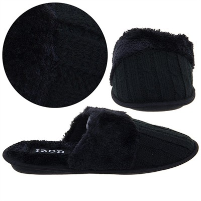 Izod Black Cable Knit Slippers for Women