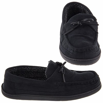 Black Izod Micro Suede Moccasin Slippers for Men