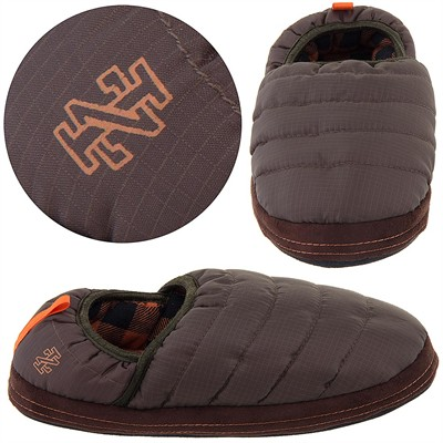Izod Brown Quilted Slippers for Men