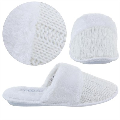 Izod Winter White Cable Knit Slippers for Women