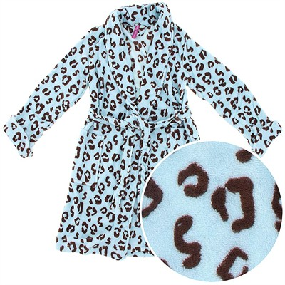 Light Blue Animal Print Plush Robe for Juniors
