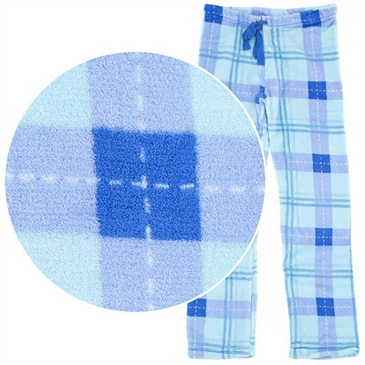 Blue Plaid Plush Pajama Pants for Juniors