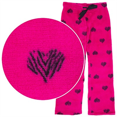Heart Plush Pajama Pants for Juniors
