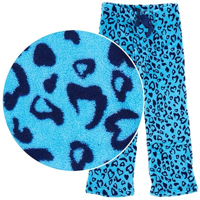 Blue Leopard Print Plush Pajama Pants for Juniors