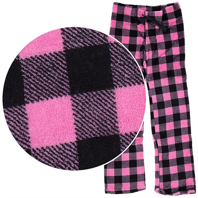 Pink Plaid Plush Pajama Pants for Juniors