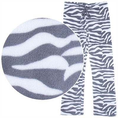 Gray Zebra Print Plush Pajama Pants for Juniors