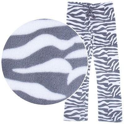 Gray Zebra Print Plush Pajama Pants for Juniors