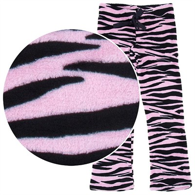 Pink Zebra Print Plush Pajama Pants for Juniors