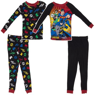 Justice League Set of Two Cotton Pajamas for Boys