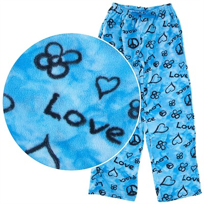 Blue Peace Fleece Pajama Pants for Women