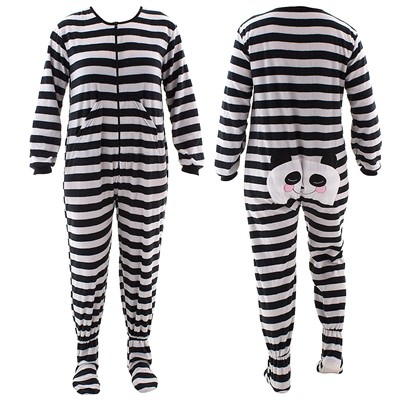 Black Panda Striped Footed Pajamas for Women