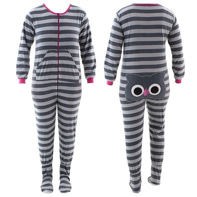Gray Owl Striped Footed Pajamas for Women