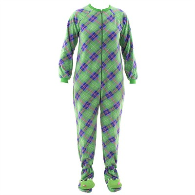 Green Plaid Frog Footed Pajamas for Women