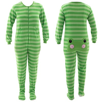 Green Frog Striped Footed Pajamas for Women