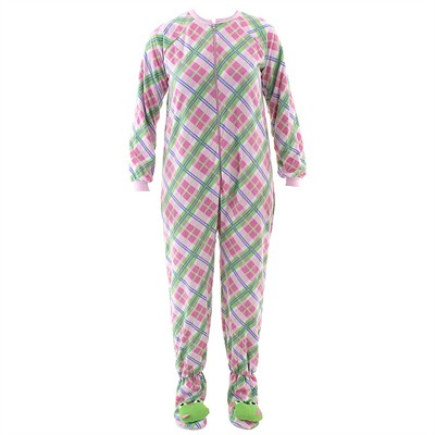 Pink Plaid Frog Footed Pajamas for Women