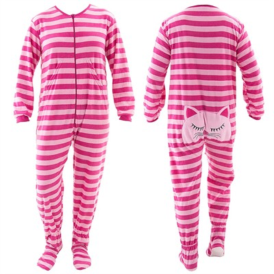 Pink Cat Striped Footed Pajamas for Women