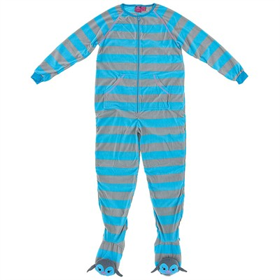 Blue Striped Footed Pajamas for Women