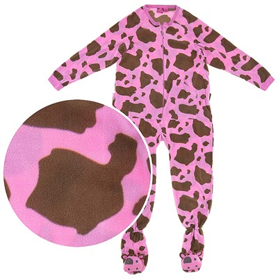 Cow Print Footed Plus Pajamas for Women