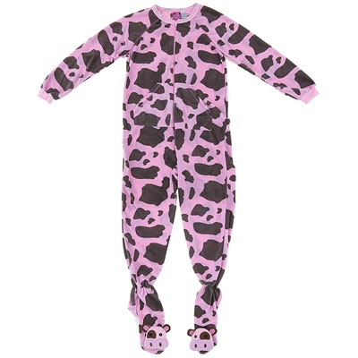 Cow Print Footed Pajamas for Women