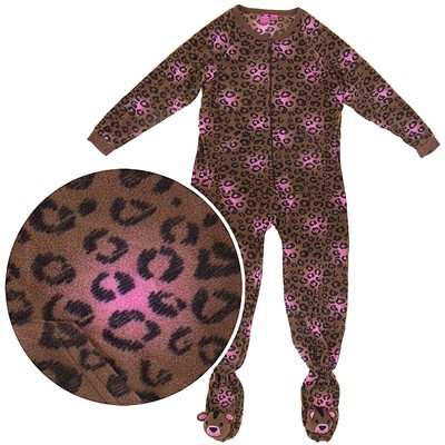 Leopard Footed Plus Pajamas for Women