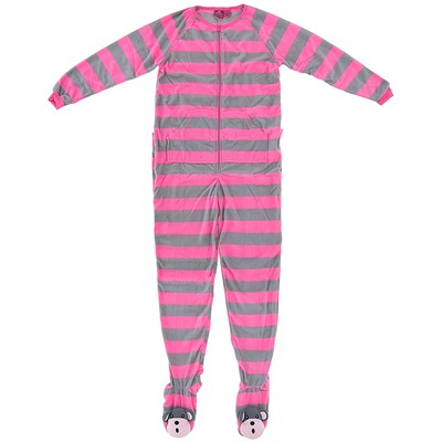 Pink Striped Footed Pajamas for Women