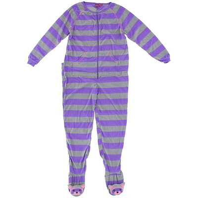 Purple Striped Footed Pajamas for Women