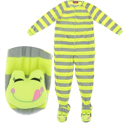 Yellow Striped Footed Pajamas for Women