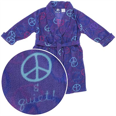Purple Peace Sign Fleece Bath Robe for Girls