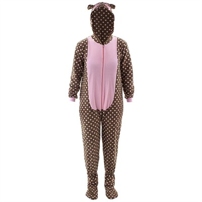 Bear Hooded Footed Pajamas for Women